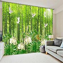 GFYWZ 3D Vorhänge Polyester Grün Ansicht Personality Drucken Stoff Blackout Lärm reduziere Warm Schutz Home Decor Fenster Vorhänge Schlafzimmer Schiebegardine , 2 , wide 2.64x high 1.6