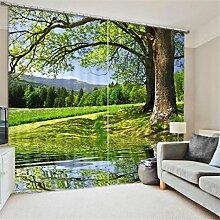 GFYWZ 3D Vorhänge Polyester Grün Ansicht Personality Drucken Stoff Blackout Lärm reduziere Warm Schutz Home Decor Fenster Vorhänge Schlafzimmer Schiebegardine , 5 , wide 2.64x high 2.13