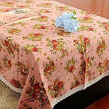 GFYWZ Esstisch quadratisch mit Baumwolltuch, pink,