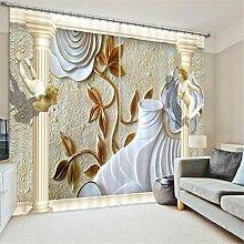 GFYWZ Gardinen Polyester 3D geschnitzte Gebäude Vision dreidimensionaler Digitaldruck Blackout Lärm reduzierte Dekorieren Fenster drapierte Schiebegardine , 3 , wide 3.6x high 2.7