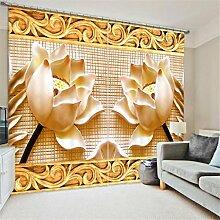 GFYWZ Gardinen Polyester 3D geschnitzte Gebäude Vision dreidimensionaler Digitaldruck Blackout Lärm reduzierte Dekorieren Fenster drapierte Schiebegardine , 1 , wide 2.64x high 1.6
