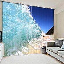 GFYWZ Gardinen Polyester 3D Strand Wasserfall Ansicht Digitaldruck Blackout Lärm reduziereMassiv Th ermal Fenster drapiert Schiebegardine , 1 , wide 3.6x high 2.7