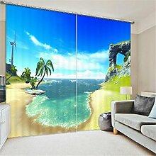 GFYWZ Gardinen Polyester 3D Strand Wasserfall Ansicht Digitaldruck Blackout Lärm reduziereMassiv Th ermal Fenster drapiert Schiebegardine , 4 , wide 2.64x high 2.13