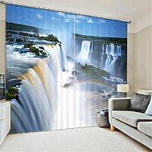 GFYWZ Gardinen Polyester 3D Strand Wasserfall Ansicht Digitaldruck Blackout Lärm reduziereMassiv Th ermal Fenster drapiert Schiebegardine , 2 , wide 2.64x high 2.13