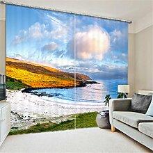 GFYWZ Gardinen Polyester 3D Strand Wasserfall Ansicht Digitaldruck Blackout Lärm reduziereMassiv Th ermal Fenster drapiert Schiebegardine , 3 , wide 2.20x high 1.80