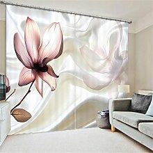 GFYWZ Gardinen Polyester Blumen 3D Stereo Vision Digitaldruck Stoffe Blackout Insulated Lärmminderungsmassiv Thermal Schlafzimmer Schiebegardine Home Decor Fenster Vorhänge , 4 , wide 2.64x high 2.41