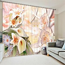 GFYWZ Gardinen Polyester Blumen 3D Stereo Vision Digitaldruck Stoffe Blackout Insulated Lärmminderungsmassiv Thermal Schlafzimmer Schiebegardine Home Decor Fenster Vorhänge , 1 , wide 2.03x high 2.41