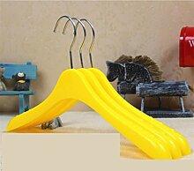 GFYWZ Kind Kunststoff Grün Gelb Aufhänger Anti Skid Kleiderbügel Familie Lagerung Kleidung Display-Kleiderbügel (Packung mit 10) , yellow