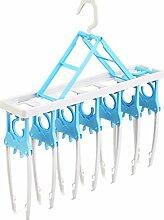 GFYWZ Kleiderbügel kreative Kunststoffe bequem Falten der Kleidung Lagerregal Zahnstangen Home Funktion Magic Kleiderbügel trocknen , blue