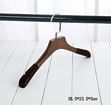 GFYWZ Kleiderbügel Retro Holz Beflockung Sturdy Nicht verrutschen Durable overstriking Erwachsener Anzug Kleiderbügel (Packung mit 10) , 1
