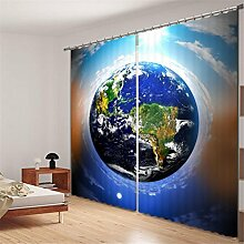 GFYWZ Polyester 3D Blue Planet Space Digitaldruck Blackout Thicknened Lärm Reduzierung Solid Thermal Decor Fenster drapiert Panels für Schlafzimmer , 3 , wide 3.0x high 2.7