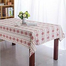 GFYWZ Rote Schneeflocke Baumwolle Tischdecke , 90*140cm