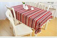 GFYWZ Rote Spitze Streifen Tischdecke , 90*140cm