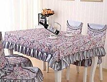 GFYWZ Tischdecke Home Nähen Baumwolle Druck waschbar Spitze Tischdecke 130 * 180cm . gray . 130*180