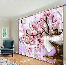 GFYWZ Vorhänge 3D Die Bäume Waren rot mit Blumen