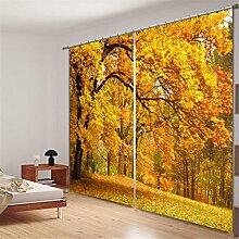 GFYWZ Vorhänge 3D Polyester Gelb Lila Pflanze Naturlandschaft Digitaldruck Blackout Lärm Reduzierung solide thermische Fenster drapiert Tafeln für Schlafzimmer , 2 , wide 2.03x high 1.6
