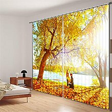 GFYWZ Vorhänge 3D Polyester Gelb Lila Pflanze Naturlandschaft Digitaldruck Blackout Lärm Reduzierung solide thermische Fenster drapiert Tafeln für Schlafzimmer , 1 , wide 2.20x high 1.80