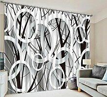 GFYWZ Vorhänge 3D Schwarz-Weiß-Kunstdruck