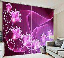 GFYWZ Vorhänge Polyester 3D Kunst Lila Blüte