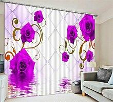 GFYWZ Vorhänge Polyester 3D Pink Lila Rosen