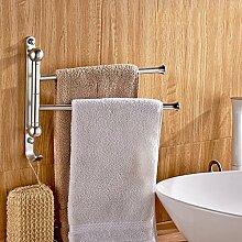 GGHYYO Aluminium Wandmontage Badezimmer Accessoires Kipphebel 2 drehbare Bar 31 * 26 Cm