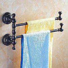 GGHYYO Continental Handtuchhalter Kupfer schwarz Rotation Badezimmer Accessoires an der Wand montierten 2 30 cm *21 cmbar
