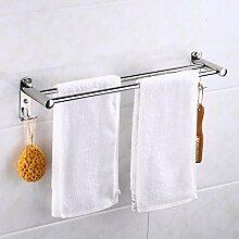 GGHYYO Edelstahl Badezimmer Accessoires an der Wand montierten minimalistischen Stil doppelter Handtuchhalter 70 cm