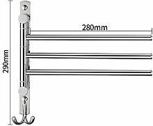 GGHYYO Handtuchhalter Edelstahl erweiterte Rotation Badezimmer Accessoires 28 * 29 cm Schlag 3 bar