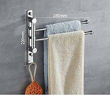 GGHYYO Handtuchhalter Edelstahl erweiterte Rotation Badezimmer Accessoires 28 5 * 28 cm Schlag 3 bar