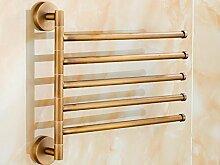 GGHYYO Kupfer Material Badezimmer Accessoires minimalistischen Stil an der Wand montierten 5 Drehen Handtuchhalter 32 * 27 Cm