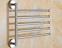 GGHYYO Kupfer Material Badezimmer Accessoires minimalistischen Stil an der Wand montierten Silber 5 Drehen Handtuchhalter 35 * 27 M