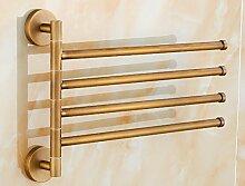 GGHYYO Kupfer Material Badezimmer Accessoires minimalistischen Stil an der Wand montierten 4 schwenkbaren Bar 32 * 23 Cm