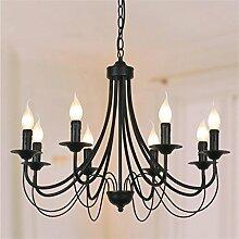 GH@ Nordic Wohnzimmer Kronleuchter Europäische Garten Eisen Kerze Lamp Restaurant Schwarz Kreative Beleuchtung