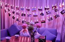 Ghope 20 LED Foto Clips Lichterketten Stimmungsbeleuchtung Dekoration für hängende Fotos Bilder Karte und Memos, 2m Batteriebetriebene für Zuhause, Party, Weihnachten, Geburtstag, Hochzeiten(Pink)