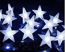 Ghope Lichterkette Batteriebetriebene Weihnachtliche mit 20 Stück Stern LED Lichterkette Weiß Innen Draußen für Party Deko, Garten Deko, Weihnachten, Hotel, Fest Deko, Geburtstag, Hockzei
