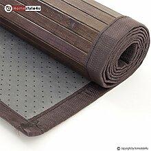 Ghorbani Bambusmatte Bambusteppich Teppich Bambus 60x240 dunkelbraun