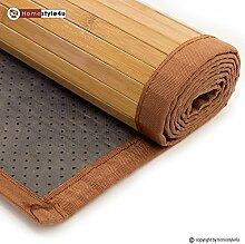Ghorbani Bambusmatte Bambusteppich Teppich Bambus 80 x 300 braun