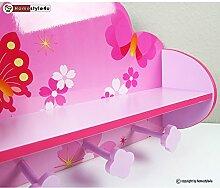 Ghorbani Kindergarderobe Holz Garderobe Kleiderhaken Wandgarderobe Schmetterling