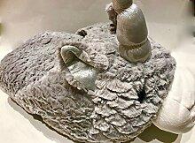 Giant Neuheit Slipper–luxuriösem doppelt Slipper–superweicher grau Einhorn–Tier Hausschuhe Neuheit Slipper–Großer Fußwärmer