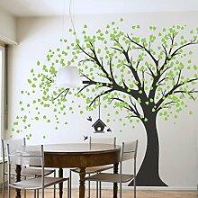 Giant schwarz Baum Wand Aufkleber mit Grünen Blättern Vögel und Vogelkäfig DIY Vinyl Wand Aufkleber Aufkleber für Babys Kids Kinder Schlafzimmer Dekoration