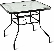 GIANTEX Couchtisch rechteckig Metall Glastisch mit