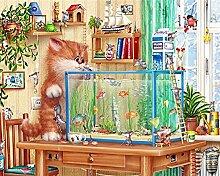 Gierige Katze 5D Diamant Katze Essen Fisch Malerei Vollstickerei Kreuzstich Malerei Home Decor Kits Diamond Mosaic Wandfarbe , circular diamond