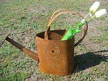 Gießkanne Rost, Metall, Edelrost, Gartendeko, zum Bepflanzen, Deko, 48x16x42cm