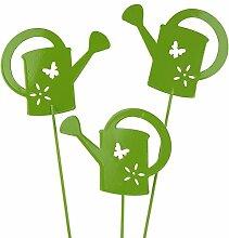 Gießkanne Stecker 8cm 12 Stück Blumenstecker Gartendeko - verschiedene Farben Grün
