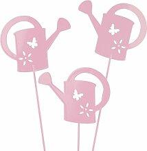 Gießkanne Stecker 8cm 12 Stück Blumenstecker Gartendeko - verschiedene Farben Rosa