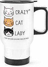 Gift Base Crazy Cat Lady Reise Becher Tasse weißer Griff