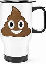 Gift Base Kacke Kacke Emoji Reise Becher Tasse weißer Griff