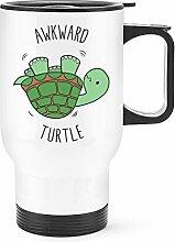 Gift Base Umständlich Schildkröte Reise Becher Tasse weißer Griff