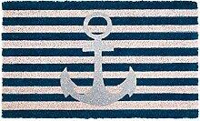 Gift Company Fußmatte Glitzer Anker blau gestreif