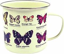 Gift Republic Schmetterlinge Becher, Emaille, mehrfarbig